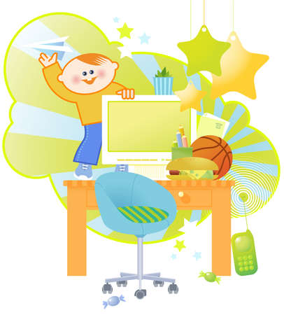 Boy's computer table. All objects on separate layers. Stock Vector - 4431518
