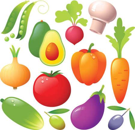 pod: vegetable icons: tomato, peas, pea pod, radish, pepper, carrot, eggplant, olive, mushroom. Fresh and tasty.