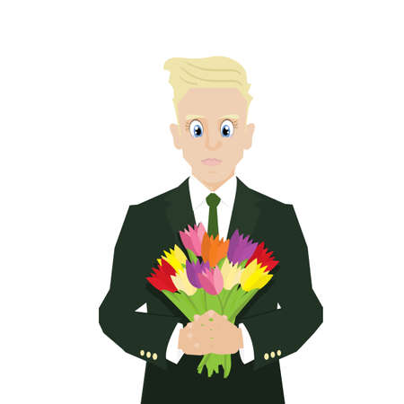 blonde blue eyes: Cute blond business man with a bouquet of tulips. Flat design, vector illustration.