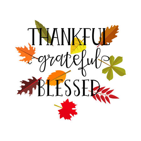 Thankful grateful blessed simple lettering. Calligraphy postcard or poster graphic design lettering element. Hand written style design Thanksgiving day sign Illustration