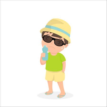 Sweaty cartoon boy with a bottle of water. Sunstroke