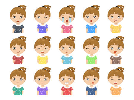 Set of Cartoon cute caucasian girl face emotions Vector Icons