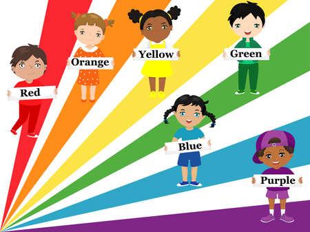 무지개 색으로 입은 다른 종족과 민족 그룹의 아이들은 포스터에 색 이름을 붙입니다.