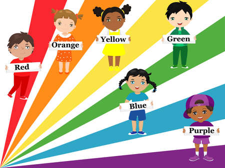 Children of different races and ethnic groups dressed in rainbow colors hold posters with color names.