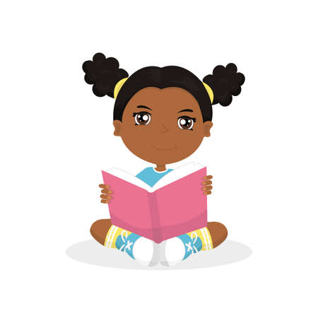 African american girl reads a book