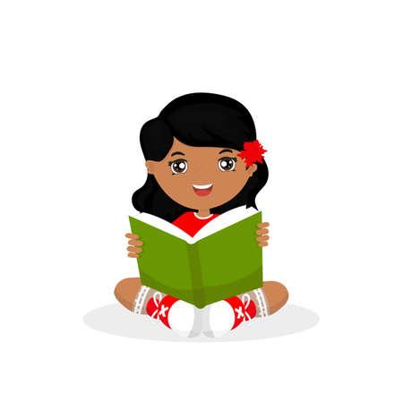 Girl reads a book Vector illustration. Illustration