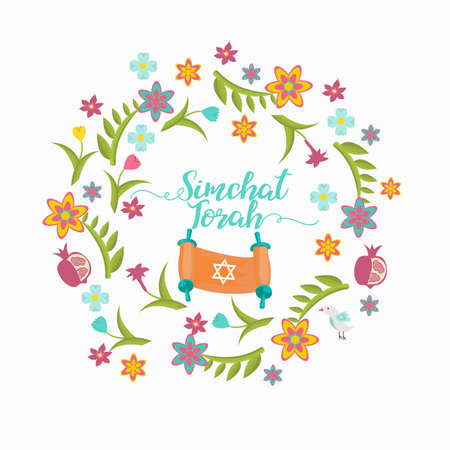 simchat torah: Simchat Torah greeting card with flower frame.