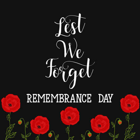poster or banner of Remembrance Day of Canada 11 november. Lest we forget