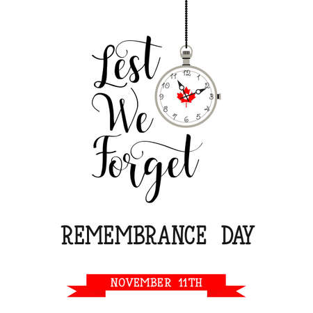 poster or banner of Remembrance Day of Canada 11 november. Lest we forget Stock Vector - 88175086