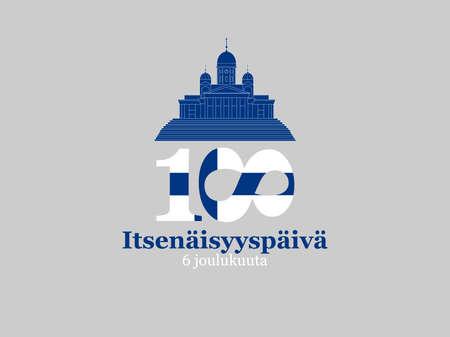 6. Dezember, Finnland, Independence Day Grußkarte. Übersetzung aus dem Finnischen: 6. Dezember, Unabhängigkeitstag Vektorgrafik