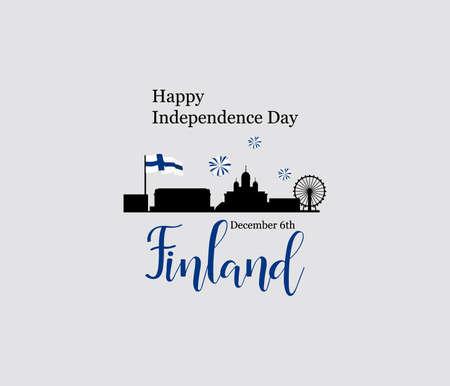 6 décembre, Finlande, carte de voeux de la fête de l'indépendance. Banque d'images - 89942206