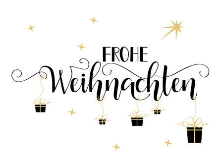 Merry Christmas hand drawn calligraphy lettering. German Text Frohe Weihnachten: Merry Christmas Illustration