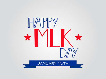 Happy Martin Luther King day greeting lettering. Flyer, banner or poster. Holiday background illustration.