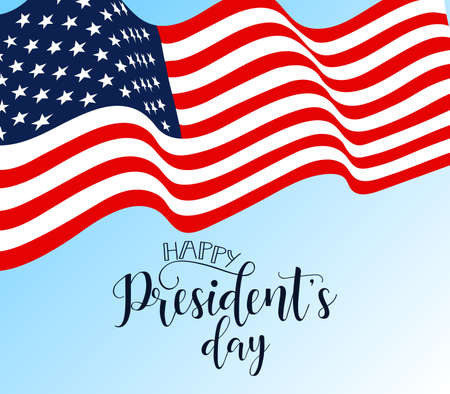 Happy Presidents Day hand lettering, american holiday design vector illustration