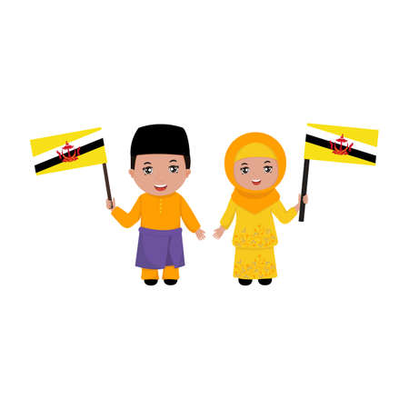 Boy and girl in traditional clothes. Brunei Vector flat illustration. 일러스트