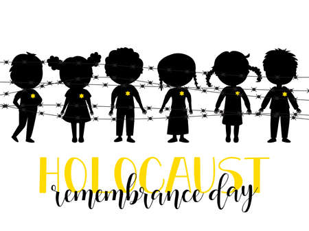 Holocaust Remembrance Day. Lettering. Vector Jewish star with barbed wire. kids logo.