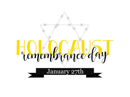 Holocaust Remembrance Day. Lettering. Vector Jewish star with barbed wire Vettoriali