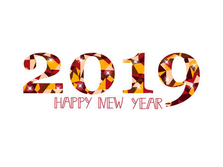 Vector Happy New Year greeting illustration with colored 2019 numbers. Illustration