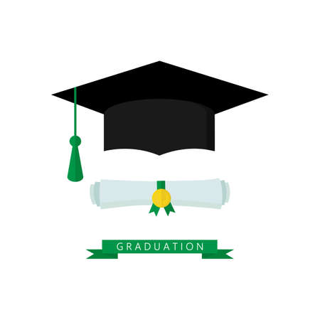 Graduate hat and scroll vector illustration isolated on white. Graduation icon