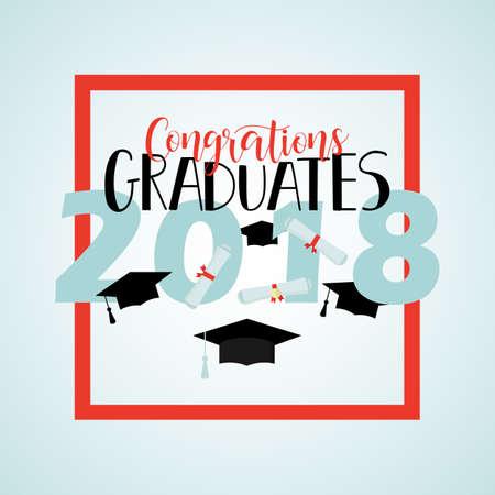 Congratulations graduates 2018 poster template with lettering. Vector illustration Çizim
