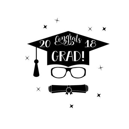 Template of the graduation class in 2018. Graduation design with hut and text. Congratulations to Grads Concept shirt, seal, stamp or stamp, greetings, invitation. Vettoriali