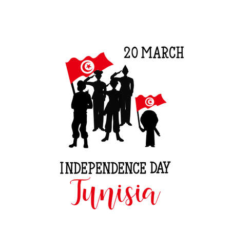 Vector illustration of Tunisia Happy Independence Day 20 March. Design element for a poster, greeting card, banners