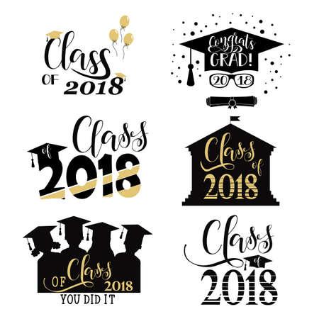 Graduación desea superposiciones, conjunto. Insignias de graduación retro de 2018. Letras de mano para tarjetas de felicitación, carteles, camisetas y otros, ilustración vectorial.
