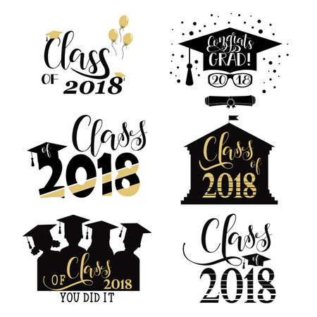 Graduation wishes overlays, set. Retro graduate class of 2018 badges. Hand lettering for greeting cards, posters, t-shirt and other, vector illustration.