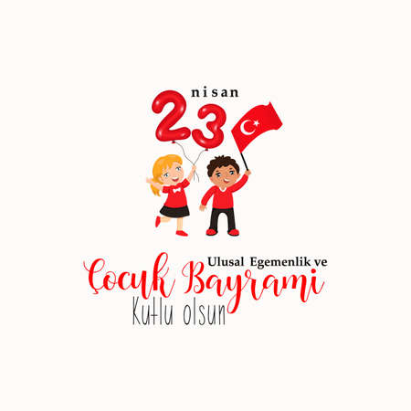 vector illustration of the cocuk baryrami 23 nisan , translation: Turkish April 23 National Sovereignty and Childrens Day, graphic design to the Turkish holiday, kids icon, children logo