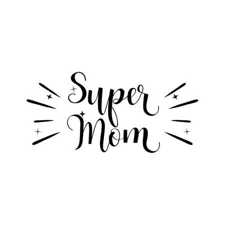 Mothers Day greeting cards with super mom lettering on white backdrop illustration. 일러스트