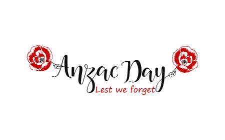 Anzac day lettering. Lest we forget lettering. vector illustration  イラスト・ベクター素材