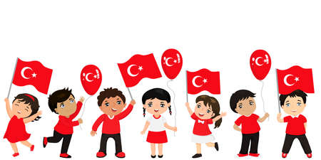 Turkish children with flags and balloons. graphic design to the Turkish holiday. Çizim
