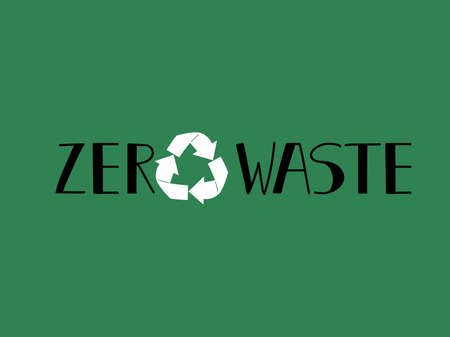 zero waste lettering. Ecology and recycle concept.  イラスト・ベクター素材