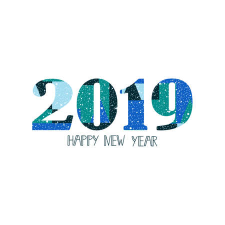 Happy New Year 2019 design elements for design of gift cards, flyers, posters. geometrical floral pattern for hipsters. Lettering Illustration