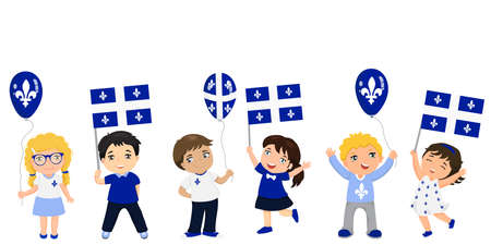 Quebec children with flags and balloons. graphic design to the Quebec holiday. Stock Vector - 102438388