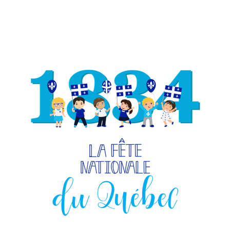 Quebec National Day, greeting card. Template design layout for card, banner, poster, flyer, card. Translation from French: Quebec National Day. Lettering