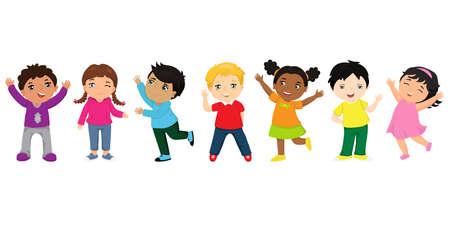 Gruppo di cartoni animati per bambini felici. Bambini divertenti di razze diverse con varie acconciature. Concetto di amicizia Vettoriali