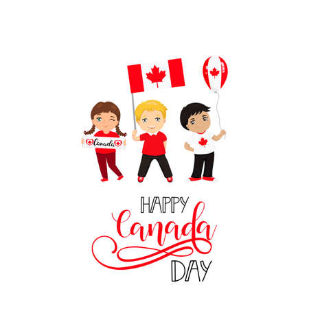 Happy Canada Day poster. 1st july. Vector illustration greeting card. kids logo. Children of different races and different hairstyles celebrate Canada day
