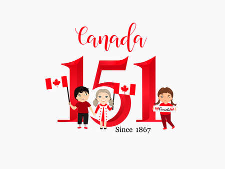 Happy Canada Day poster. 1st july. Vector illustration greeting card. kids logo Illustration