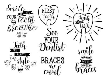 Teeth, oral care, dentists and orthodontics set. Lettering. Dental care motivational quote poster.