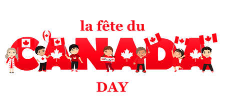 French text: Canada Day. Vector illustration greeting card. kids logo. Children of different races and different hairstyles celebrate Canada day