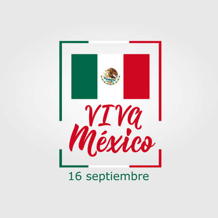 Viva Mexico. Lettering. Spanish translation: 16 September. Mexico Happy Independence Day greeting card. Hand drawn vector illustration. element for flyers, banner and posters Modern calligraphy. Stock Illustratie