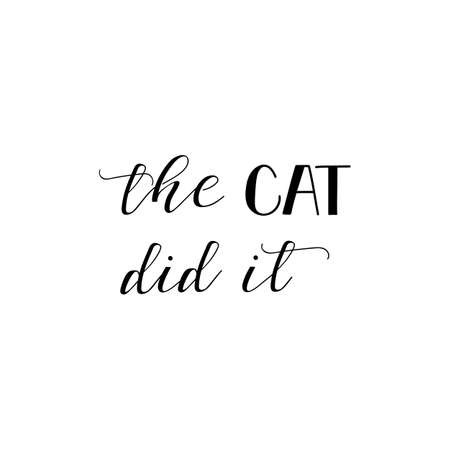 The cat did it. Lettering. Hand drawn vector illustration. element for flyers, banner and posters. Modern calligraphy. Vettoriali