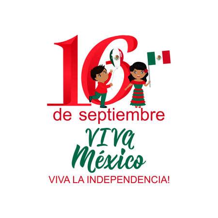 niños con banderas de México. Traducción mexicana de la inscripción: 16 de septiembre. Feliz día de la independencia Viva Mexico Dibujado a mano ilustración vectorial. elemento para volantes, pancartas y carteles.