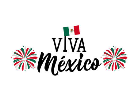 Viva il Messico. Lettere. Traduzione spagnola: biglietto di auguri Viva Mexico Happy Independence Day. Illustrazione vettoriale disegnato a mano. elemento per volantini, banner e poster Calligrafia moderna. Vettoriali