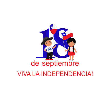 Independence Day of Chile greeting card. text in spanish: Happy Independence Day, September 18. graphic design to the Chile holiday, kids icon, children logo Illustration