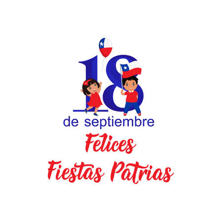 Independence Day of Chile greeting card. text in spanish: Happy Independence Day, September 18. graphic design to the Chile holiday, kids icon, children logo. Felices Fiestas Patrias