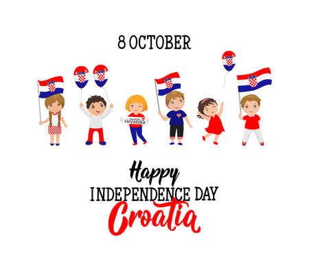 Croatian Independence Day greeting card. October 8. graphic design to the holiday, kids icon, children logo