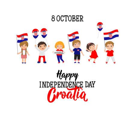 Grußkarte des kroatischen Unabhängigkeitstags. 8. Oktober Grafikdesign zum Feiertag, Kinderikone, Kinderlogo Logo