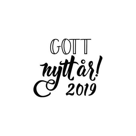 Swedish text: Happy New Year. 2019. Lettering. vector illustration. element for flyers, banner and posters Modern calligraphy. Gott nytt år!